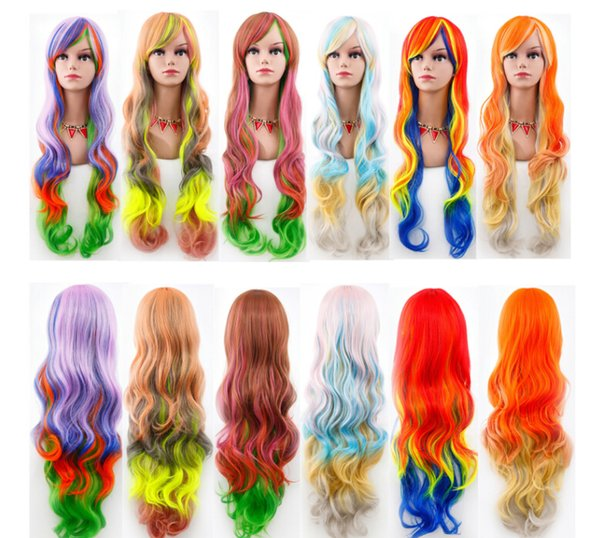 Women Cosplay Wig Gradient Fashion Long Curly Hair Cosplay Halloween Costume Accessories Female Princess Lolita Colorful Wig