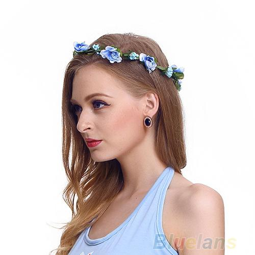 bohemian hair crowns flower headbands beach women artificial floral hairbands headwear for girls hair accessories beach wedding garlands