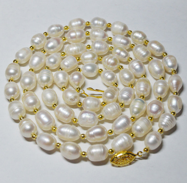 New 10-11mm genuine natural white rice South China Sea pearl necklace 35 inches