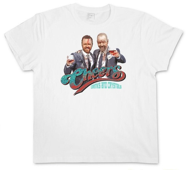WHITE CHEERS DRINKS T-SHIRT EN CRISTAUX - Rupture Walter Jesse Pinkman Chemise Bad