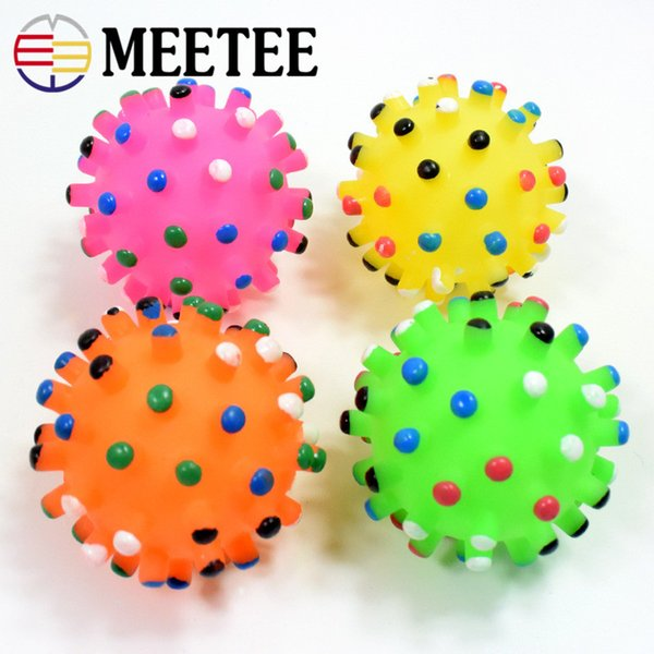 MEETEE Puppy Dog Cat Pet Hedgehog Rubber Ball Bell Sound Ball Fun Play Toy Squeaky Chewing Balls Sale DC-196
