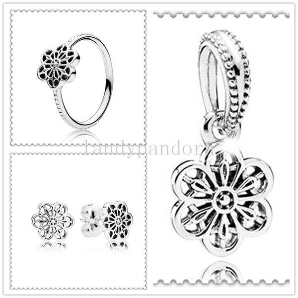 Otantik 925 Gümüş Charm Boncuk Yüzük Küpe Takı Seti Avrupa Pandora Bilezikler Kolye -ring02 Uyar