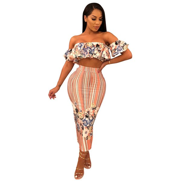 32ec6ec21acd38 Floral Print Women Two Piece Set Off Shoulder Short Sleeve Strapless Crop  Top High Waist Back