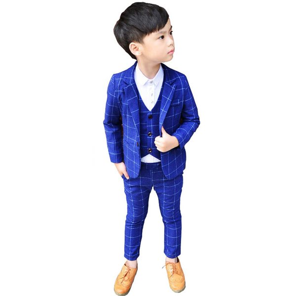 New 3Pcs Kids Plaid Wedding Blazer Suit Brand Flower Boys Formal Tuxedos School Suit Child Party Dress Clothing Set Costume N67