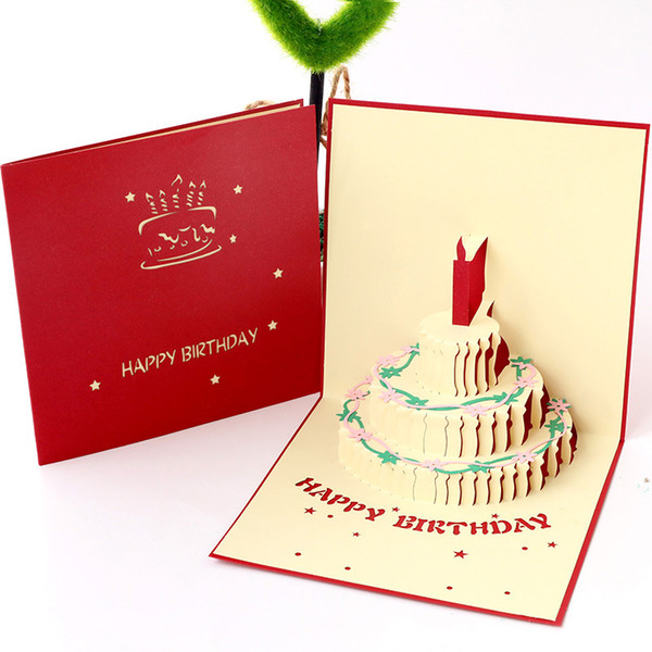 image about Free Printable Birthday Cards for Boys titled Young children Birthday Playing cards Innovative 3D Selfmade Hollow Paper Carving Cake Personalized Boys Women of all ages Present Reduced Greeting Playing cards Wholesale No cost Printable