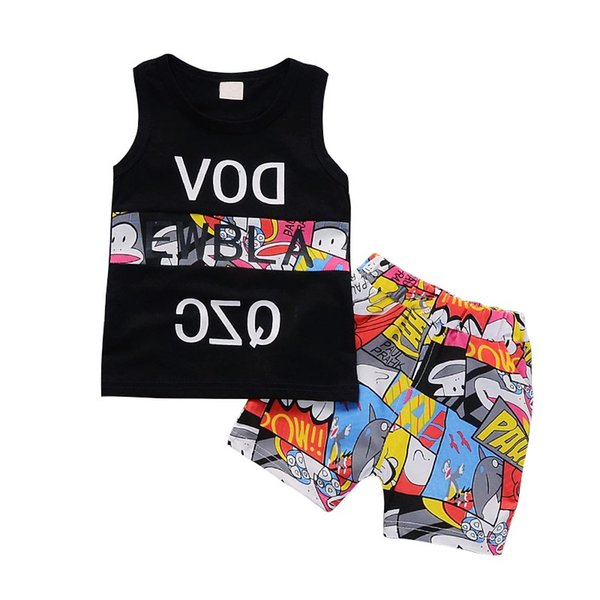 M31 New Summer Kids Boys Girls Sport Style Sets Children Baby Vest Tops Shorts 2 Pcs Suits Letters Pattern
