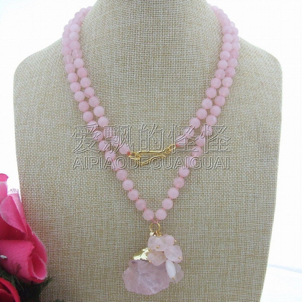 N060803 40'' 8mm Round Rose Crystal Necklace Rough Pendant