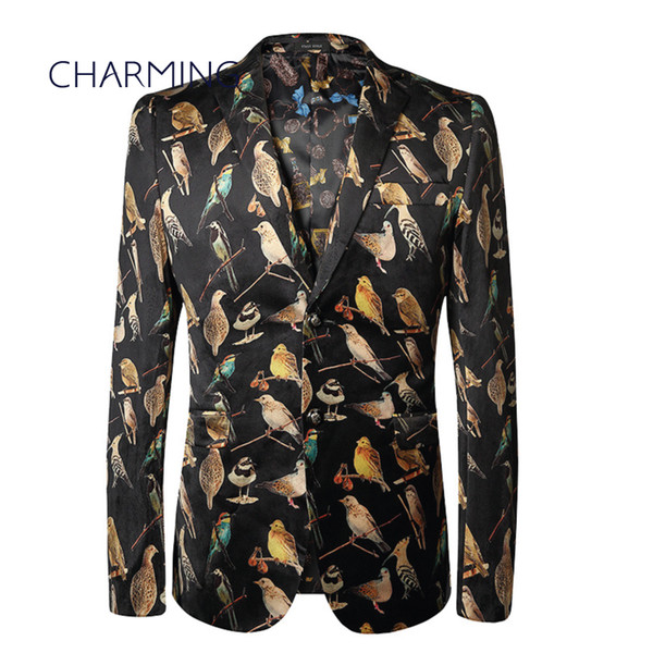 Fashion suit for man High-end bird pattern 3D printing design gentleman male suits Suitable actor singer Single row of two button suit jacke