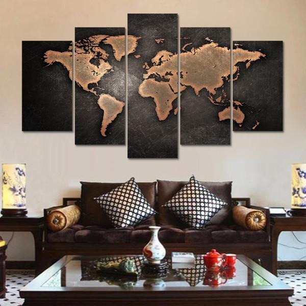 Acquista HD Stampa 5 Pz Astratta Retro Mappa Del Mondo Su Tela Wall Art  Pittura Soggiorno Decorazione Della Parete Di Arte Immagine Home Decor Art  ...