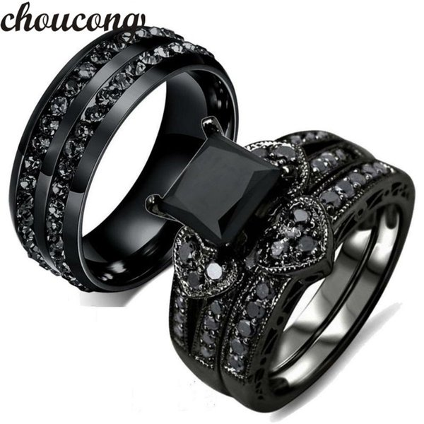 Choucong Fashion ring for women men AAA zircon Cz crystal Stainless Steel Lovers Party Wedding Band Ring Black gold Color Y1891205