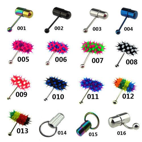 New hot vibrating tongue nails exquisite puncture jewelry vibration silicone tongue ring multi color