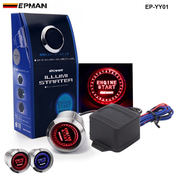 best selling Tansky -PIVOT Blue   Red Illumination Car Engine Start Push Button Switch Ignition Starter Touch Kit TK-YY01