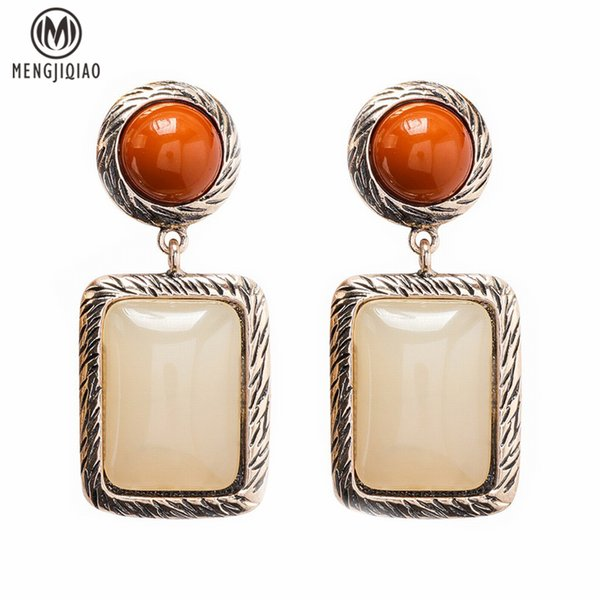 MENGJIQIAO 2018 New Vintage Square Drop Earrings Brincos Fashion Jewelry Big Acrylic Dangle Earrings Pendientes for Women S914