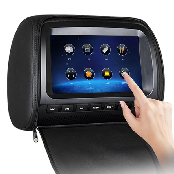 1PC 9 inch Touch Screen Car DVD Player Headrest Pillow Leather with USB SD FM IR Game Remote Control for Car Rear-Seat
