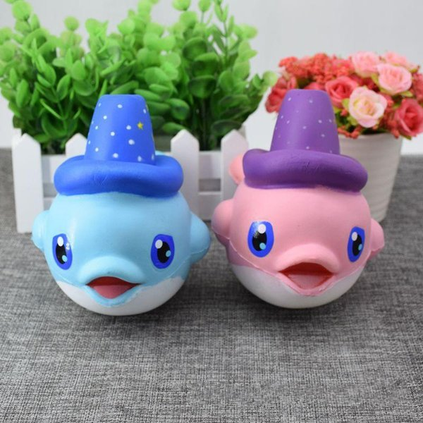 Squishy Lovely Magic Hat Dolphin Jumbo Squishy Slow Rising Pendant Phone Straps Charms Queeze Kid Toys Cute squishies Bread