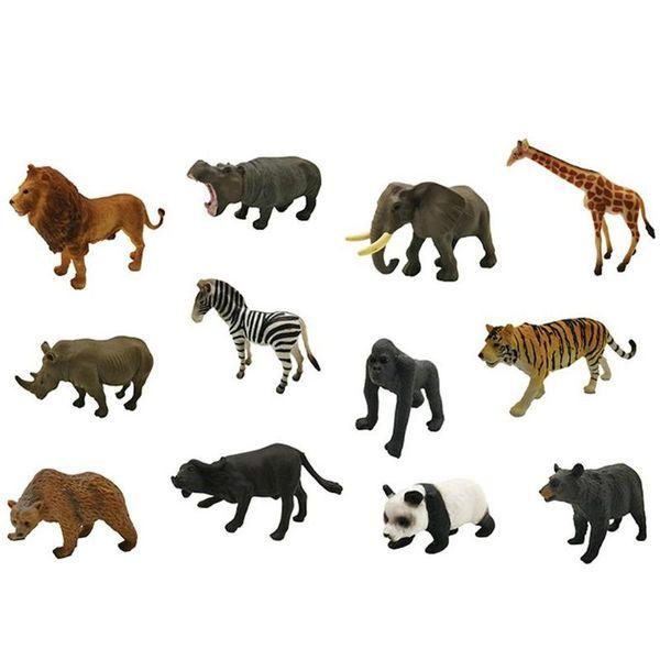 12pcs/Box 3D Jungle Simulation Animal Model Toys Educational Toys Plastic Animals Mini Figure Model Toys Children Kids Gift