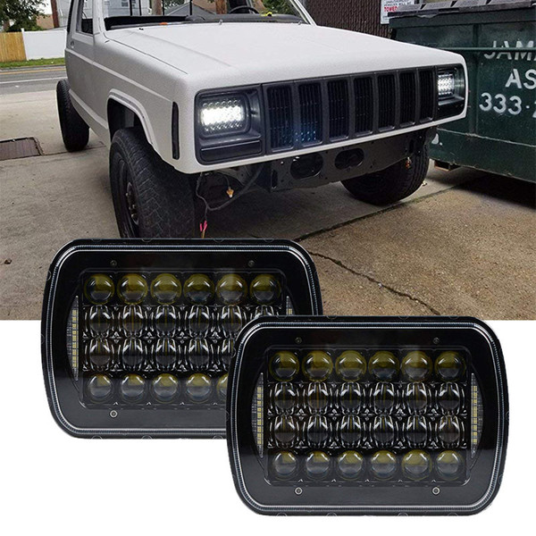 2017 Top Sell 5x7 inch 7'' Square headlight 105W Hi/Lo Beam for 1986-1995 Jeep Wrangler YJ and 1984-2001 Jeep Cherokee XJ