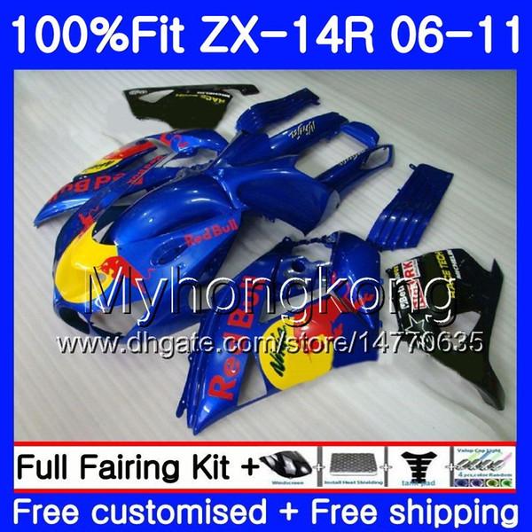 Injection For KAWASAKI NINJA ZX-14R 2006 2007 2008 2009 2010 2011 223HM.28 Blue yellow ZX 14R 14 R ZZR1400 ZX14R 06 07 08 09 10 11 Fairing