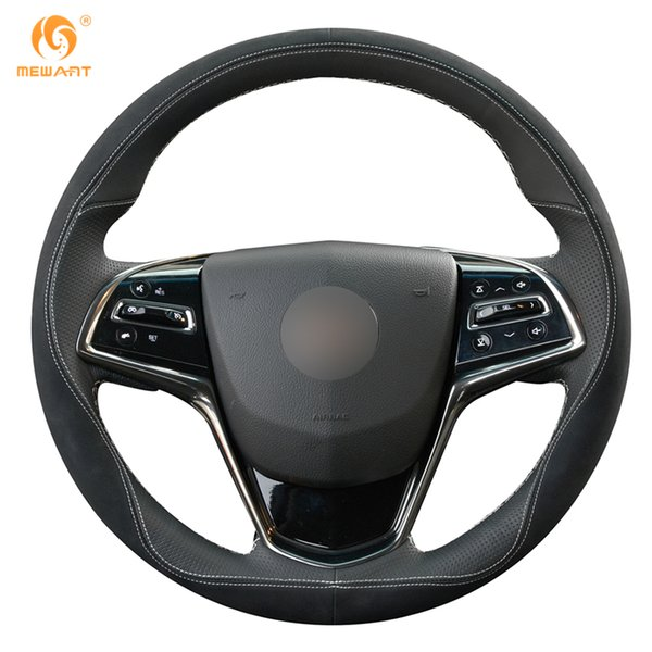 1 DIY MEWANT Black Leather Black Suede Steering Wheel Cover for Cadillac ATS 2013-2015 CTS 2014-2016
