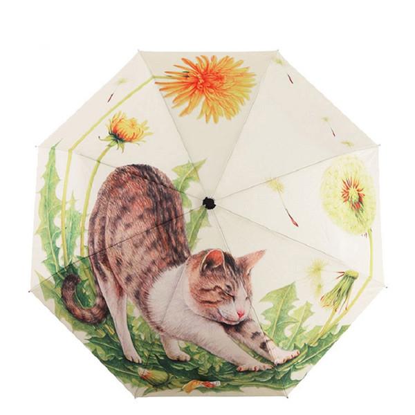 TIANQI New Arraival Art Oil Painting Umbrella Three Fold paraguas Women Parasol Anti-uv Waterproof Rain Umbrellas Cute Cat