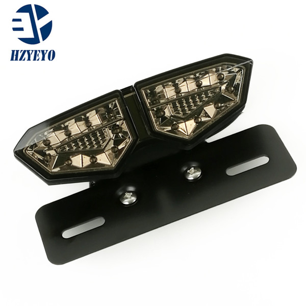 best selling HZYEYO Smoked+Red Motorbike Portable Integrated LED Brake+Turn Signals Tail Lights Motorcycle Rear Turn Indicators Accessories