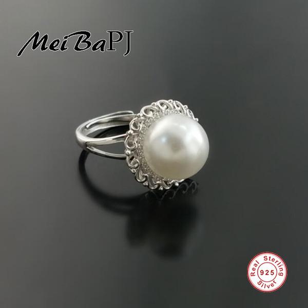 [MeiBaPJ] Real Pure Silver S925 Anello da donna Elegant Luxury Perfettamente 11-12mm grande semiround Anello fiore di Perla Freshwater