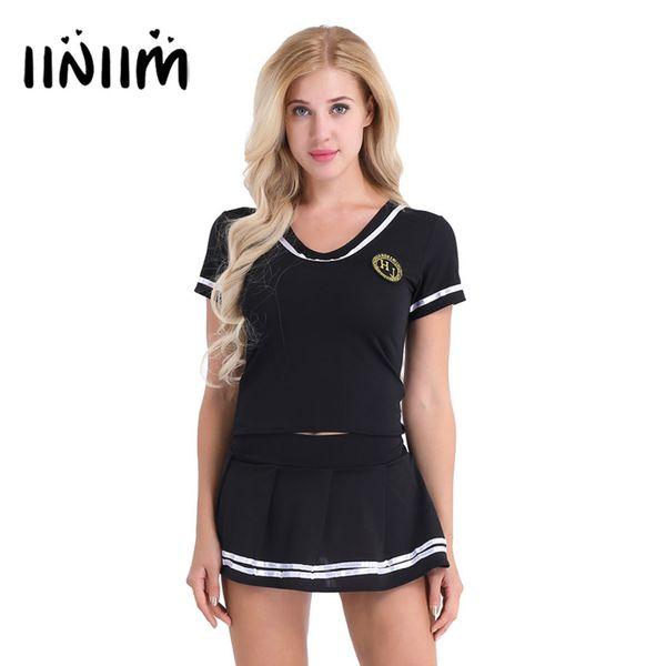 f47559dfaea iiniim Women School Girls Cosplay Sexy Costumes Lingerie Outfit Clubwear  Short Sleeve T-shirt Top