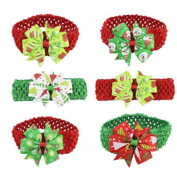 Baby Headband Ribbon Handmade Toddler Infant Kids Hair Accessories Girl Newborn Bows Tiara Turban Bandage Christmas