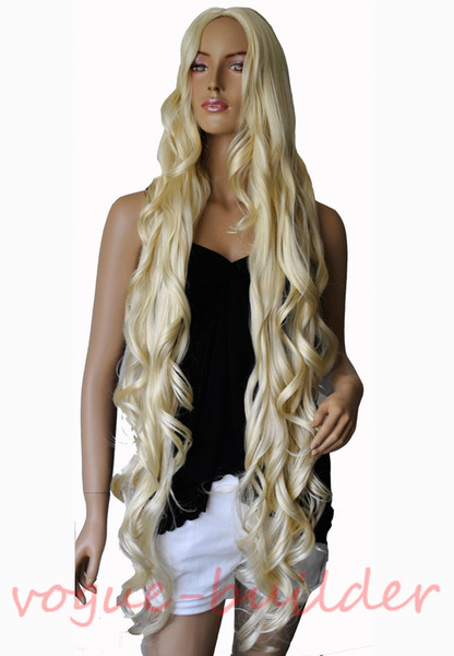 """Details about 47"""" Long Blonde Spiral Wavy Costume Cosplay Halloween Party Hair Wig"""
