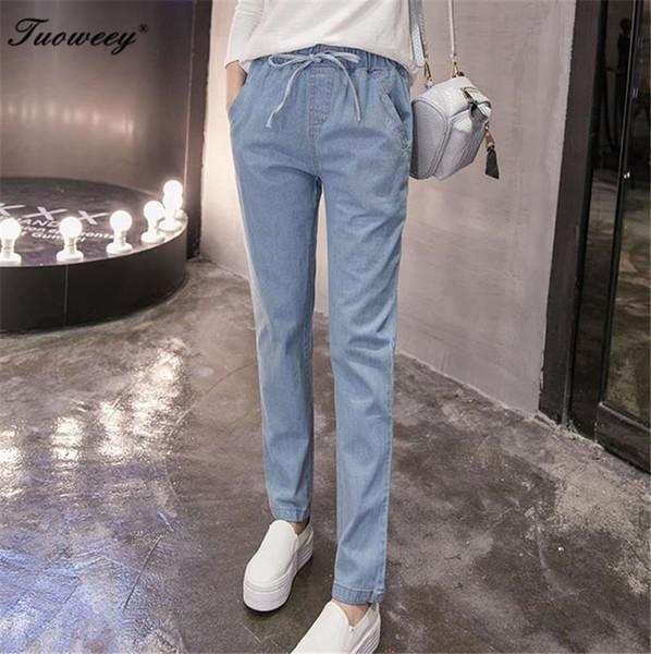 Nouveau Plus Size confortable Pantalon en denim à jambe sexy en bleu lavé jeans pour femmes taille élastique pantalon long pantalon