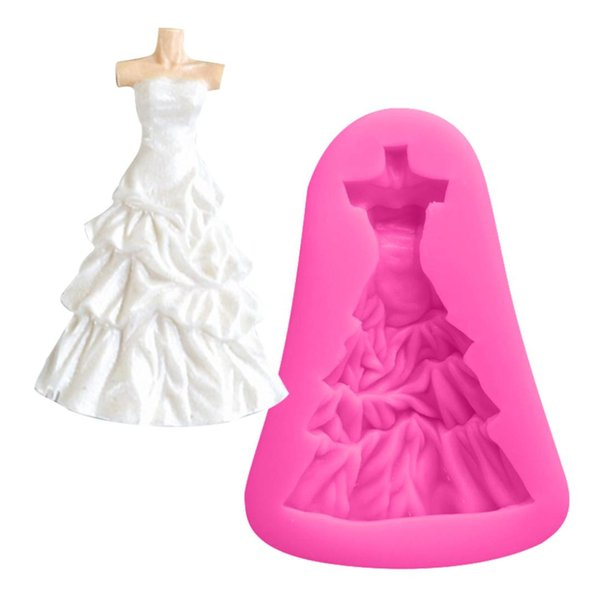 Cake Decorating Tools 1PC Wedding Dress Shape Bread Mould Silicone Soap Mold Fondant Cake Chocolate Stencils Kitchen Baking