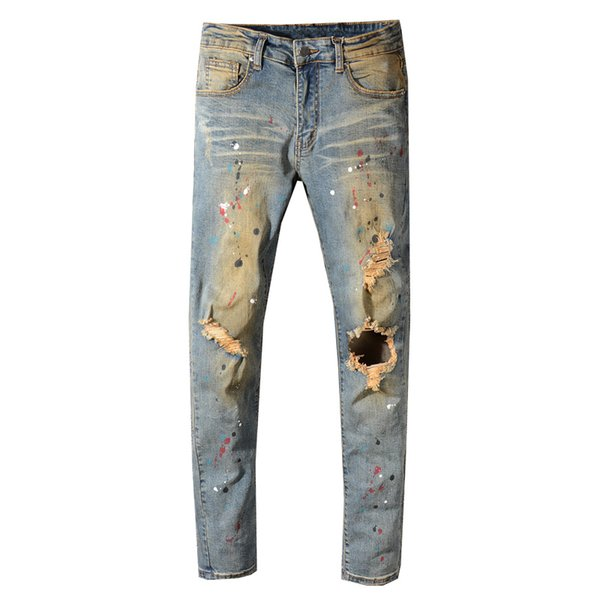 Retro Dirty Washed Ripped Jeans For Men High Street Fashion Hip Hop Jeans Skinny Fit Paint Design Elastic Destroyed Men