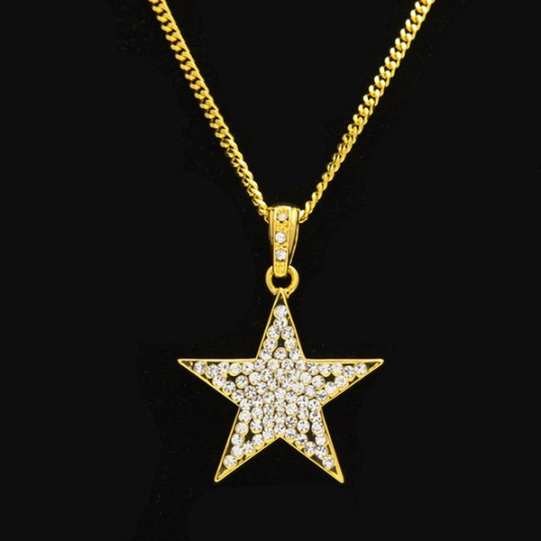 Stainless Steel Chains Hip Hop Necklaces Five Stars Pendant Necklaces Bling Rhinestone Hip Hop Jewelry Ice Out Gold Plated Accessories
