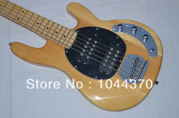 Wholesale 5 strings bass Natural wooden Music bass natural stingray with black pick guard electric bass HOT free shipping 2018