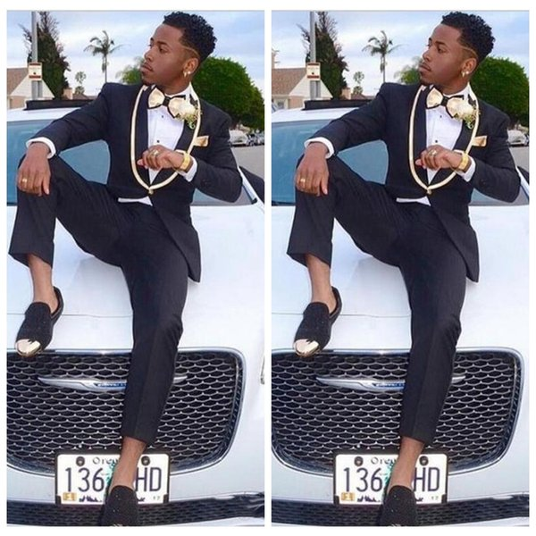 2018 Vintage Formal Black One African Button Groom Wear With Gold ...