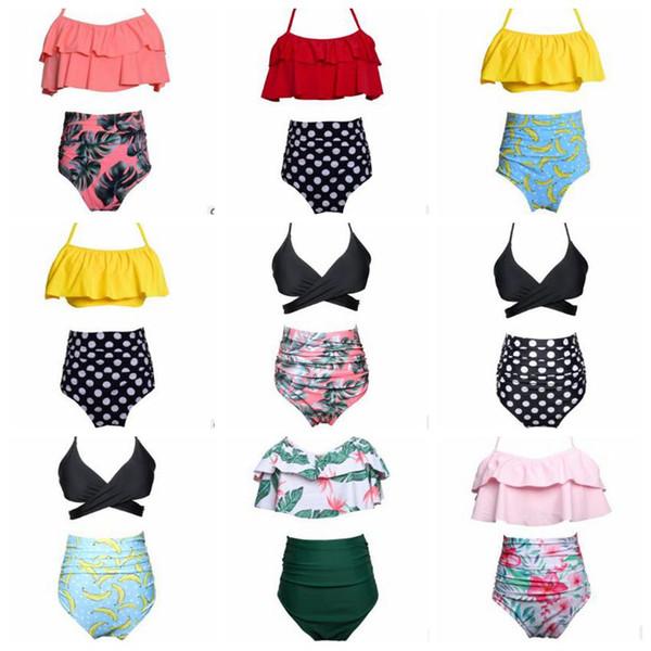 Hohe Taille Bikini Frauen Polka Dot Bademode Sexy Mode Badeanzug Drucken Lotus Blatt Floral Biquini Maillot De Bain Badeanzug Beachwear 4042