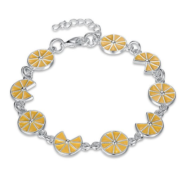 New arrival!Fashion trend hand chain yellow flower 925 silver bracelet JSPB637;low price girl women sterling silver plated Charm Bracelets