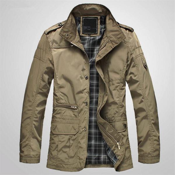 2018 New Spring Casual Bomber Jacket Men Autumn Stand Collar Business Long Coat Outwear Thin Male Jacket Black Khaki 4XL 5XL