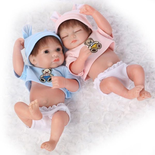 25cm Mini Full Silicone Reborn Baby Doll Toys Lifelike Handmade Newborn Baby Dolls Baby Bedtime Play House Bathe Shower Toy