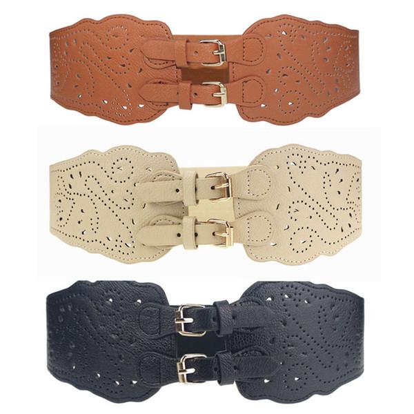 10PCS / LOT SINGYOU Women Cummerbunds Fashion Hollow Flower Pattern Elastic Waist Belt Wide Pin Double Buckle Waistband