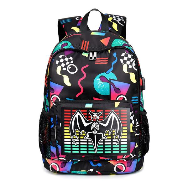 Cool Acoustical control LED Luminous USB Charging Harajuku Backpack Boys Girls SchoolBags for Teenagers Printing Bagpack Satchel