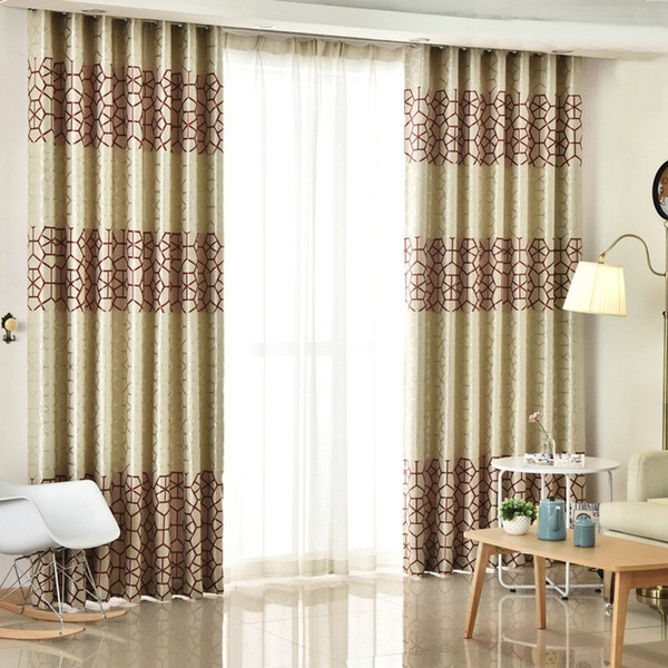 top popular Modern Thick Suede Geometric Curtains for Living Room Bedroom Double-Sides Printed Blackout Sheer Drapes Silver Grey Burgundy curtain 2020