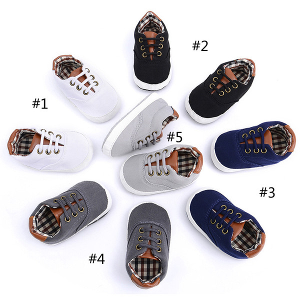 5 Style Baby erste Wanderer Schuhe 2018 Neue Baby Jungen und Mädchen neugeborene weiche Sohle Streifen Canvas Schuhe B001