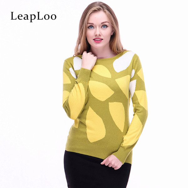 LeapLoo Female Cashmere Sweater Autumn Sweater Women Casual Patchwork O-Neck Long sleeves Knitted Pullovers Office Lady Style