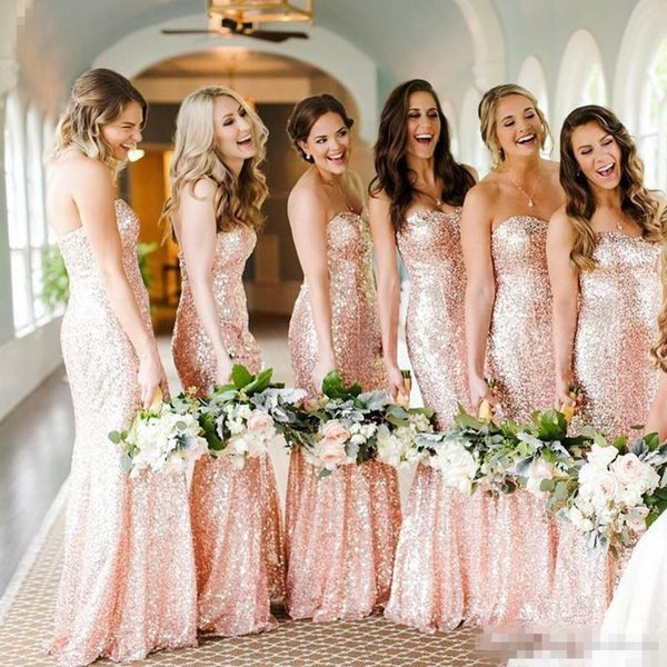 Mermaid Bridesmaid Dress Sequins Fabric Sweetheart Backless Sleeveless Floor Length Vestidos De Maid Of Honor Dresses For Wedding Guest