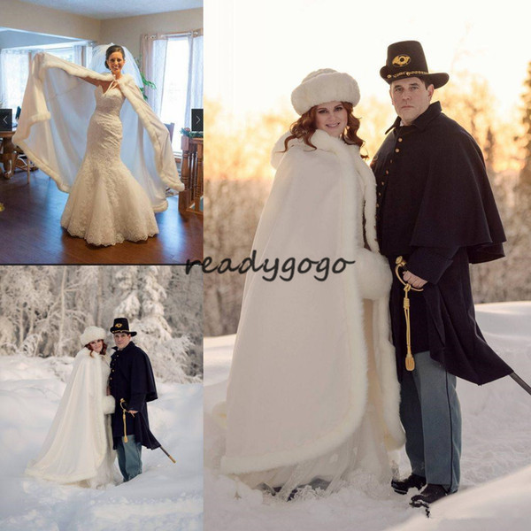 2019 Fur Wrap With Hat Long Winter Bridal Cape Faux Fur Christmas Cloaks Jackets Hooded For Winter Wedding Bridal Wraps For Wedding Dresses