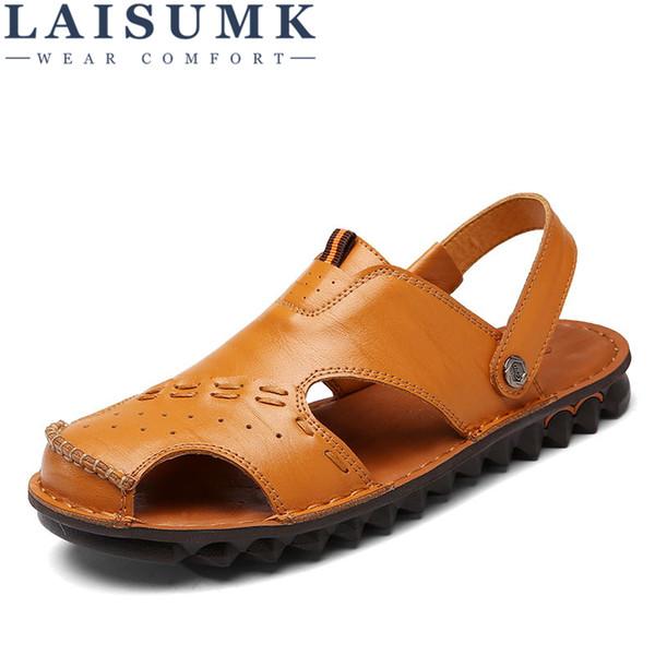 LAISUMK мужские сандалии открытый повседневная пляж Мужская обувь из натуральной кожи дышащая плоские сандалии мода сандалии Hombre тапочки