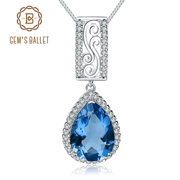 Gem's Ballet Blue Color-Change Fluorite Gemstone 925 Sterling Water Drop Necklaces Pendants Jewelry colgantes mujer moda Natural
