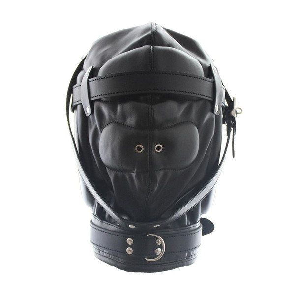 Spedizione gratuita Rosa / Nero PU Leather traspirante Stoma Fetish Bondage Sex Mask SN-GN0100