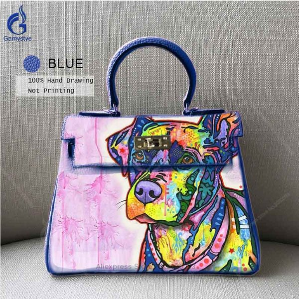 2018 High Quality 100% Genuine Leather Shoulder Bags Togo Leather Famous Brand Totes Handbags Hand Painted Graffiti Bag Blue Black